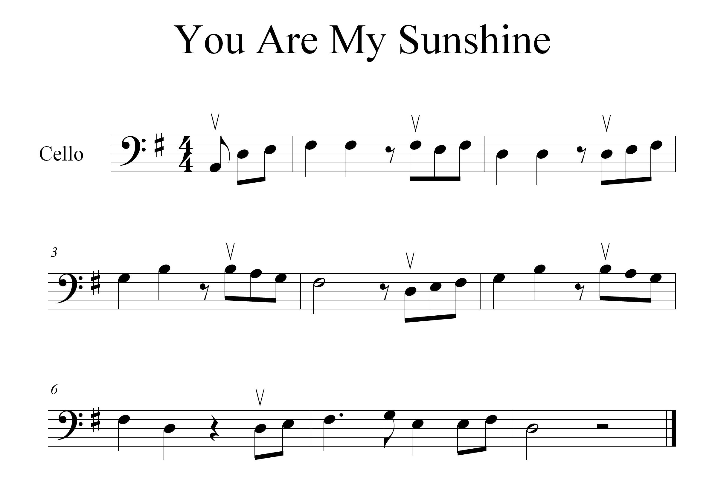 How To Play You Are My Sunshine On The Cello Stringclub