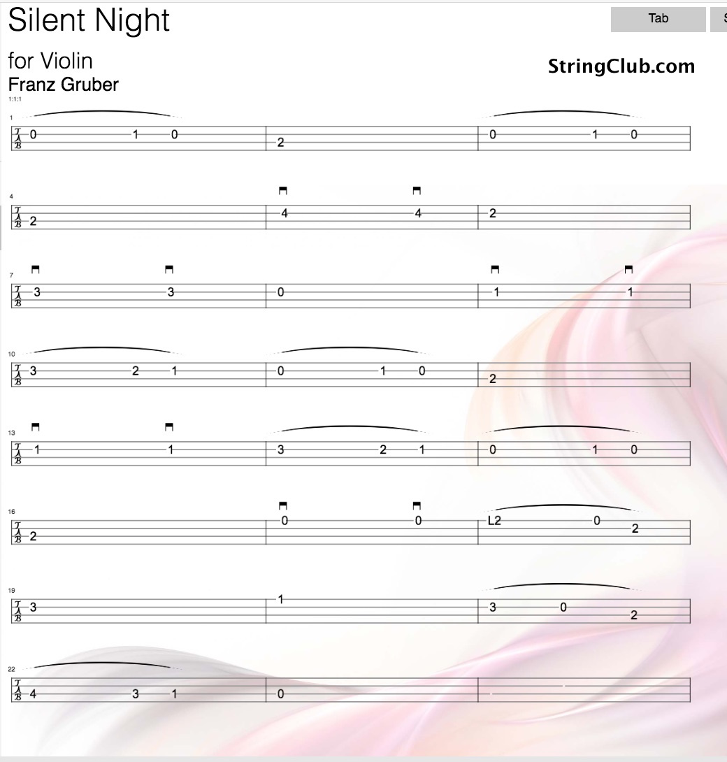 Learn silent night violin how to play tutorial with notes silent night tab hexwebz Choice Image