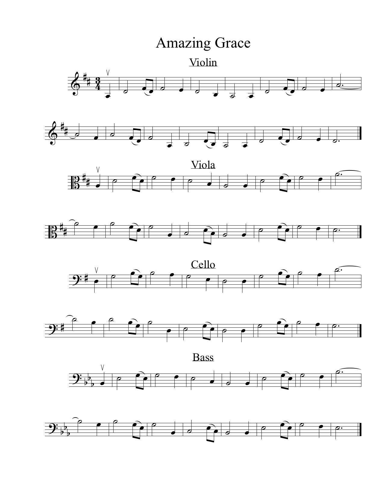 Amazing Grace Sheet Music and Tablature : The String Club