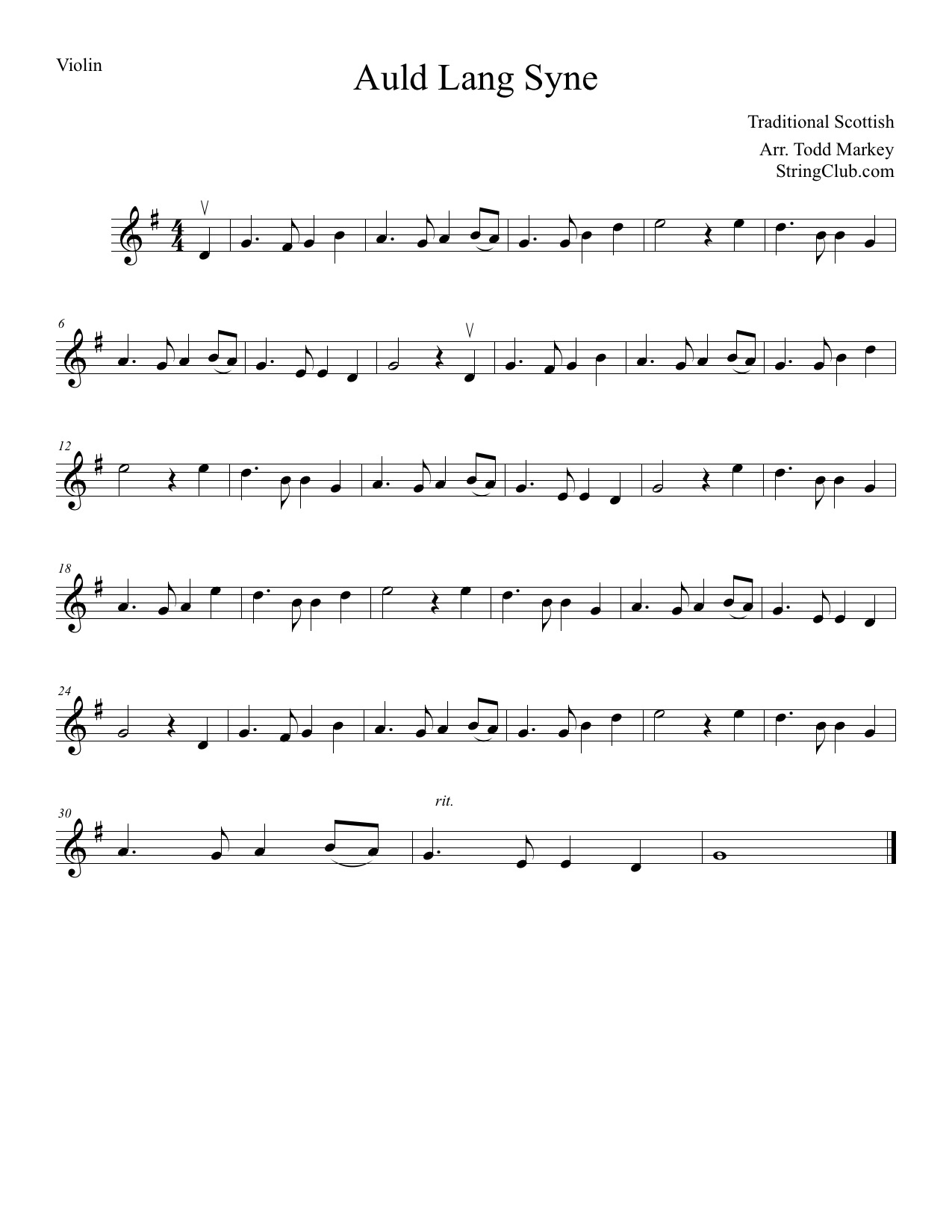 Learn Auld Lang Syne Violin How To Play Tutorial With Notes